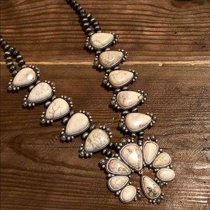 White Stone Squash Blossom Necklace. Natural Stone